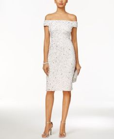 Adrianna Papell Off-The-Shoulder Beaded Sheath Dress *BRidal shower
