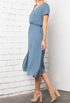 dusty blue short sleeve midi dress Those shoes too though!!!//d
