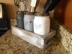 Mason Jar utensil holder utensil caddy rustic by DandEcustom