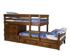 Love this style of bunk beds for the boys. Not high and storage included