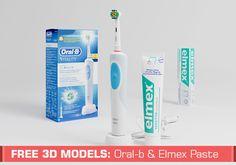 dam Bęczkowski, de Slice Cube, comparte este espectacular modelo 3D de un cepillo de dientes eléctrico Oral-b Vitality 3D White, junto a su respectivo tubo de pasta de dientes marca Elmex.
