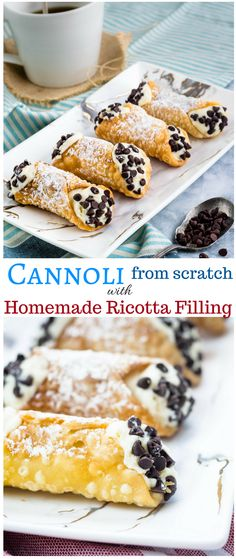 Learn how to make easy cannoli from scratch. Homemade cannoli shells filled with homemade ricotta, the best cannoli filling you'll ever try! Best Dessert Recipes, Easy Desserts, Sweet Recipes, Delicious Desserts, Gourmet Desserts, Picnic Recipes, Pastry Recipes, Baking Recipes, Cookie Recipes