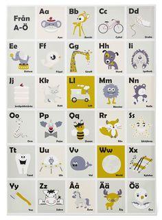 Söt ABC-tavla för barnrummet. Lekfull och färgglad med bilder som symboliserar bokstäverna.