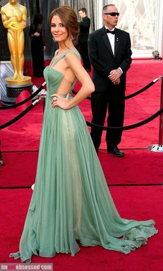 Mixed Greens. #NMFallTrends Host Maria Menounos, wearing a breathtaking Maria Lucia Hohan mint green dress and Jacob and Co. diamonds. 2012 oscars academy awards
