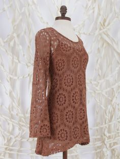 Lace Overlay Long Top