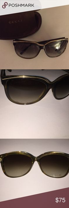 Gucci Metal Trim Sunglasses (Havana) Retro cat-eye inspired frames with metal trim brow and interlocking GG logo. Brown gradient lens. Heavily worn. No major scratches, but there are minor scratches throughout. Comes with original case and cloth. Gucci Accessories Sunglasses