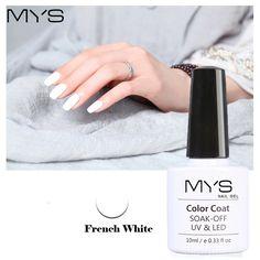 MYS Black White French Manicure Set Gel Nail Polish 10ml Long Lasting Soak Off UV Gel French Nail Gel Varnish