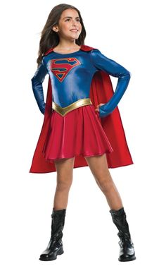 The dazzling Supergirl TV Show Child's Halloween Costume features Supergirl's iconic superhero outfit with a red and blue dress, a removable red cape and a gold belt. Perfect for a Supergirl fan or young superhero. Supergirl Halloween Costume, Little Girl Halloween Costumes, Costume Garçon, Wholesale Halloween Costumes, Boy Costumes, Super Hero Costumes, Group Halloween, Halloween Halloween, Girl Superhero Costumes