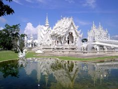 The White Temple in Chiang Mai, Thailand was designed by a famous Thai artist.
