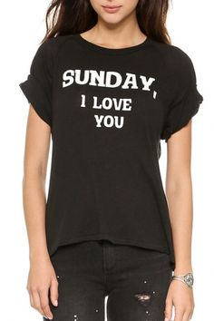 Black Short Sleeve Sunday I Love You T-Shirt