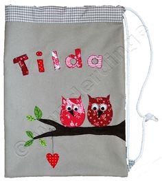 Ein süßer Turnbeutel für Tilda ♥  #Geschenk #Geburt #Kindergarten #personalisiert #Eule