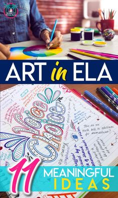 11 meaningful ways to add art in English class MiddleSchoolELA HighSchoolELA ArtinELA 317363104996385577 7th Grade Ela, 4th Grade Reading, Sixth Grade, Seventh Grade, Middle School Ela, Middle School English, High School, School Fun, Ela Classroom