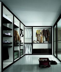 walk in closet w/transparent drawers!  No more frenetic searches trying to find that sweater. I need to figure out how I can do this.