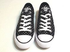 82fc5d8cd9b0f Converse All Stars NEW Black W  Silver Polka Dots Size  Men s 7 Women s 9   fashion  clothing  shoes  accessories  unisexclothingshoesaccs   unisexadultshoes ...