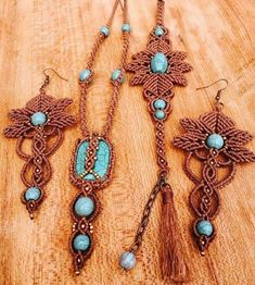 Here at Magic Knot, we offer you this lovely set, that includes Necklace , Bracelet and Earring.This set of jewelry is intended for women who love originality and uniqueness. I made it a very high quality knit thread, stone turquoise and tiny beads in macrame technique. The necklace