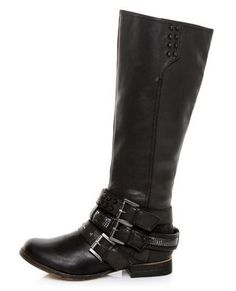 Not Rated Parliament Black & Belted Embellished Motorcycle Boots (Lulu's)