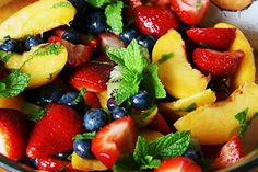 fruit salad with honey-mint-lime dressing: this was deelish with fresh mint from my garden!