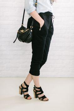 chambray   soft pants   heels