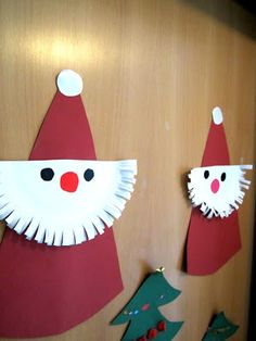 paper plate Santas...do on smaller scale as package topper