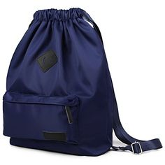 Bagerly Waterproof Gymbag Large Drawstring Backpack Sackpack Travel Backpack Blue ** You can get additional details at the image link.