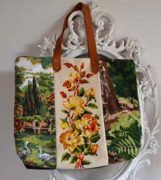 Upcycled needlepoint shopping tote bag by FrenchDecoChic on Etsy, €49.00