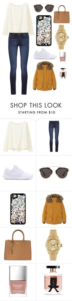"""Sans titre #3698"" by merveille67120 ❤ liked on Polyvore featuring Uniqlo, DL1961 Premium Denim, NIKE, Christian Dior, MANGO, Prada, Rolex, Butter London and Victoria's Secret"