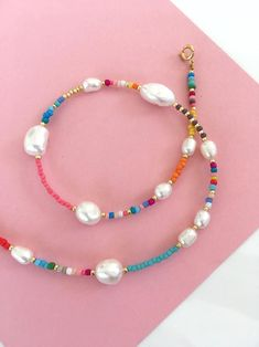 pearl and Seedbeads necklace/Pearl and colourful beads necklace/pearl mixed beads necklace/beaded pearl collar/freshwaterpearl necklace Accesorios Cute Jewelry, Pearl Jewelry, Beaded Jewelry, Handmade Jewelry, Beaded Bracelets, Embroidery Bracelets, Handmade Wire, Jewellery, Seed Bead Necklace