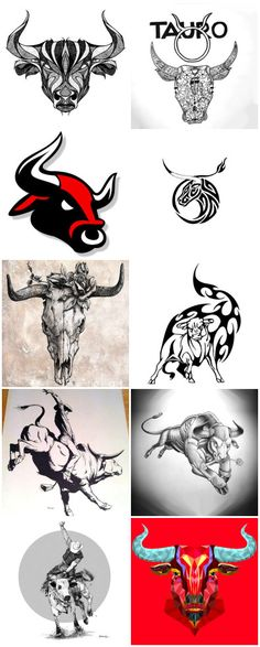 Since the ancient times, the bull has been a symbol of masculinity, virility and opposing. Taurus Bull Tattoos, Bull Skull Tattoos, Bull Skulls, Bull Symbol, Bison Tattoo, Mom Heart Tattoo, Bull Pictures, Taurus Art, Tattoos For Guys Badass