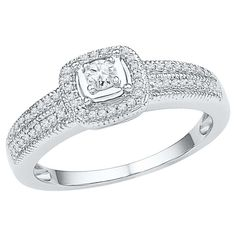 1/4 CT. T.W. Round Diamond Prong Set Promise Ring in Sterling Silver (4.5), White