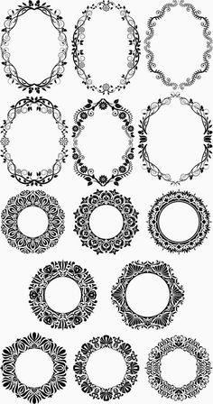 Retro floral ornaments vector