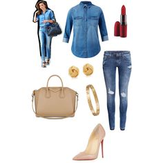 A fashion look from October 2014 featuring H&M jeans, Christian Louboutin pumps and Givenchy tote bags. Browse and shop related looks.