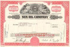 Sun Oil Company stock certificate 1970's