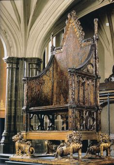 The Crowning Chair in Westminster Abbey, every British King or Queen has been crowned in this chair since 1308
