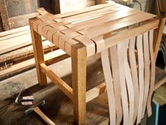 Woven leather stool tutorial - Wood