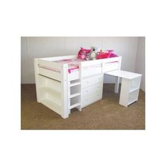 LOW LOFT BUNK BED IN WHITE SOLID WOOD INCLUDES SLIDE OUT DESK , 3 DRAWER CHEST & BOOKCASE
