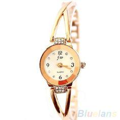 Hot Sales Women's Rose Gold Plated Alloy Rhinestone Bracelet Round Dial Quartz Analog Wrist Watch  2AE6 #Affiliate