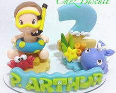 Fundo do mar - nautical Fondant Numbers, Fondant Letters, Sea Cakes, Pasta Flexible, Baby Cartoon, Air Dry Clay, Baby Shark, Birthday Cake Toppers, Baby Shower Cakes