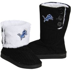 Detroit Lions Ladies Knit High End Button Boot Slippers