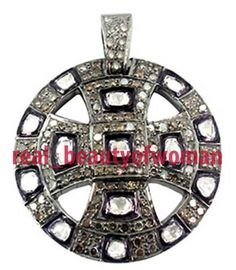 Vintage Victorian 3.08cts Real Rose Antique Cut Diamond 925 Silver Cross Pendant #realbeautyofwoman #CrossPendant
