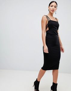 Find the best selection of ASOS DESIGN cage back midi dress. Shop today with free delivery and returns (Ts&Cs apply) with ASOS! Asos Fashion, Fashion Online, Black, Dresses, Vestidos, Black People, Dress, Gown, Outfits