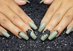 If 3D nails like these are wrong we don't want to be right! Shout out to @nailsbyoddica for this superb matte green set. #MorganTaylor
