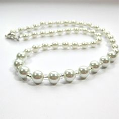 White Pearl Single Strand Necklace Classic Pearl by DiBeauDesigns, $22.00