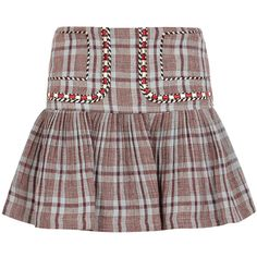 Isabel Marant Étoile Jessie Checked Linen Mini Skirt - Size 12 (25,205 PHP) ❤ liked on Polyvore featuring skirts, mini skirts, embroidered mini skirt, red short skirt, blue skirts, striped mini skirt and checkered mini skirt