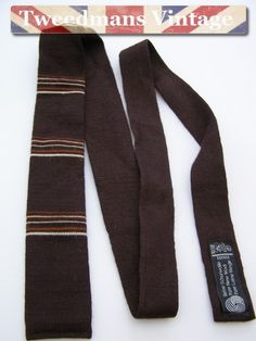 Striped knitted tie brown ginger cream slim vintage | Tweedmans Vintage