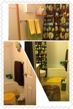 Kids Bathroom Jungle Theme I Love The Colors Of Small Towels On Wall