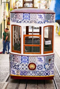 Bica Tram (Lisbon) With Temporary Intervention ~ Azulejos ~ Portuguese Tiles Places Around The World, Oh The Places You'll Go, Lisbon Tram, Portuguese Tiles, Visit Portugal, Tramway, Tile Art, Art And Architecture, Beautiful Places