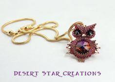 Beaded Owl Pendant, Swarovski Crystal Stitched Owl Necklace, Seed Bead Owl Silver Chain, Snow Owl or Red Owl Color Choice on Etsy, $38.99