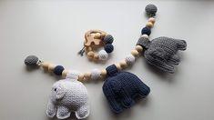 Hæklet barnevognskæde med elefanter