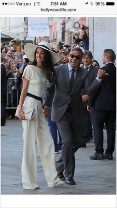 Amal Alamuddin in white Stella McCartney pant suit. Let's talk perfection.