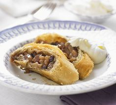 Caramelised apple & walnut strudel. A warming pudding full of fruit and spices